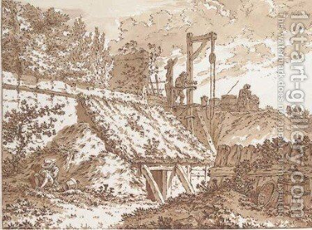A hut built against a garden wall, figures drawing water at a well beyond by Johann Georg Wille - Reproduction Oil Painting
