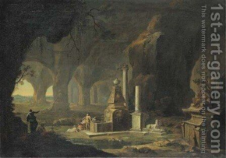 A grotto with figures by a fountain by Johann Georg Bohm - Reproduction Oil Painting