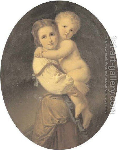 Sweet siblings by Johann H. Engelmann - Reproduction Oil Painting