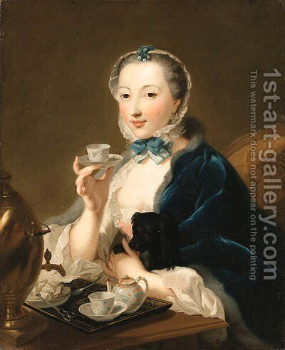 Portrait of the artist's wife, Marie Sophie Robert, half length, with a dog and holding a tea cup by Johann Heinrich The Elder Tischbein - Reproduction Oil Painting