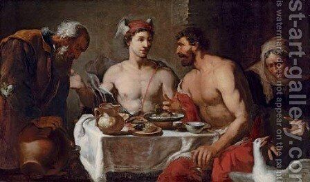 Jupiter and Mercury in the house of Philemon and Baucis by Johann Heiss - Reproduction Oil Painting