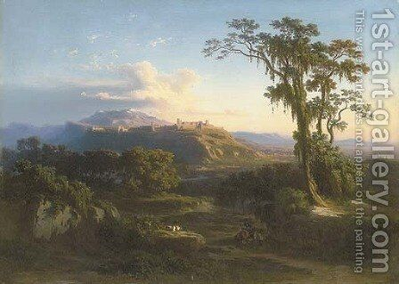 A Mountainous Landscape by Johann Jakob Frey - Reproduction Oil Painting