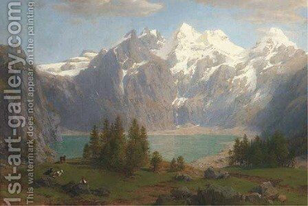 A herdsman grazing his cattle before a mountain lake by Johann Jakob Vollweider - Reproduction Oil Painting