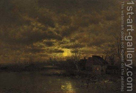 A river landscape at dusk by Johann II Jungblut - Reproduction Oil Painting