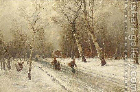 Figures on a snow covered country road by Johann II Jungblut - Reproduction Oil Painting