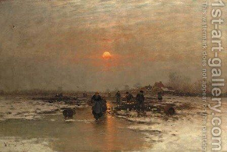 Ice fishing at dusk by Johann II Jungblut - Reproduction Oil Painting
