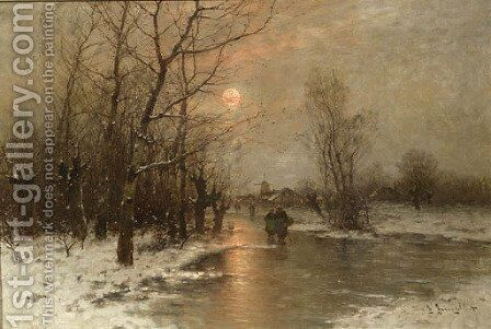 Peasants on a frozen waterway at dusk by Johann II Jungblut - Reproduction Oil Painting