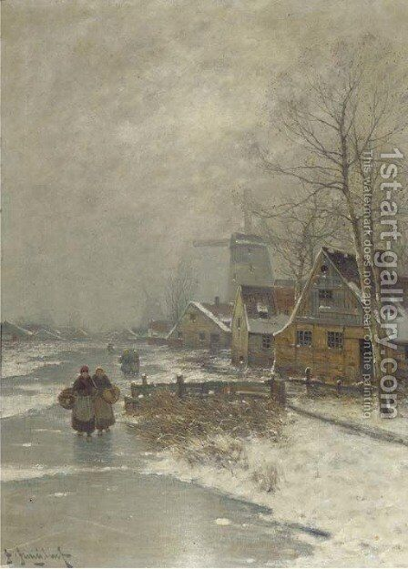 Walking home in winter by Johann II Jungblut - Reproduction Oil Painting