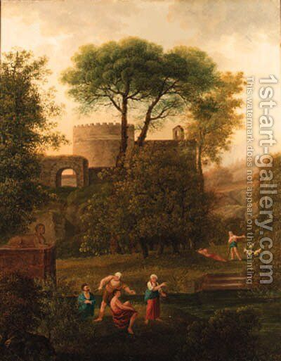Figures in a classical landscape by Johann Kaspar Kuster - Reproduction Oil Painting