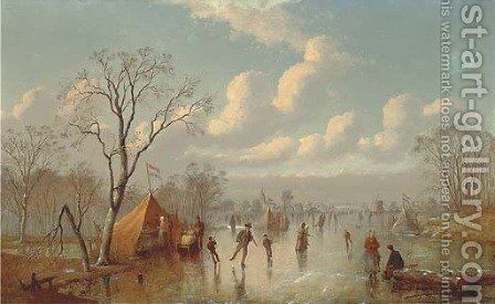 Skaters on a Dutch waterway by Johann Mongels Culverhouse - Reproduction Oil Painting