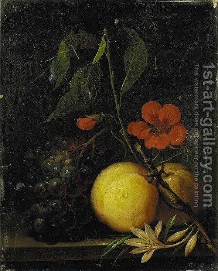 Grapes, peaches and a nasturtium, with a moth on a ledge by Johann Nepomuk Mayerhofer - Reproduction Oil Painting