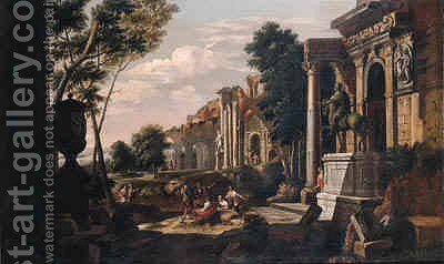 Capriccio's of Roman ruins with beggars meeting tourists and soldiers giving directions to travellers by Johann Oswald Harms - Reproduction Oil Painting