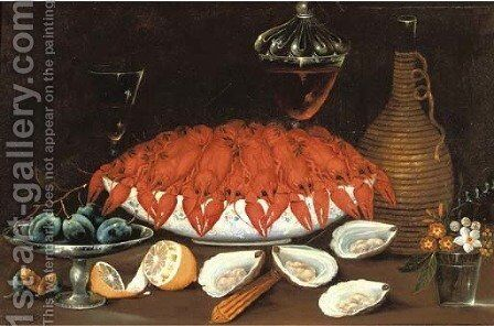 Crayfish in a porcelain bowl, oysters, a partially peeled lemon by Johann Seitz - Reproduction Oil Painting
