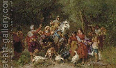 The Knight's Entourage by Johann The Younger Till - Reproduction Oil Painting
