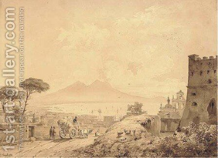 The Bay of Naples from Castel Sant'Elmo, Vesuvius seen in the distance by Johann Ulrich Mayr - Reproduction Oil Painting