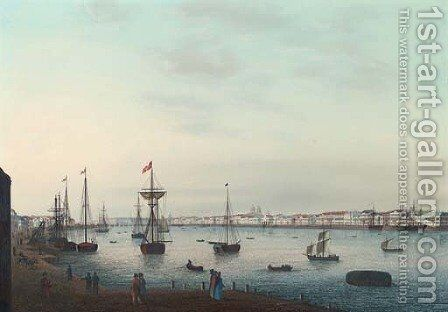 View of St. Petersburg Along Neva River by Johann Wilhelm Gottfried Barth - Reproduction Oil Painting