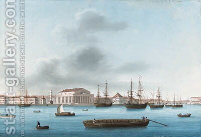 View of the Bourse across the Neva by Johann Wilhelm Gottfried Barth - Reproduction Oil Painting