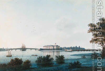 View of the Kamenno-ostrov Palace across the River Neva by Johann Wilhelm Gottfried Barth - Reproduction Oil Painting