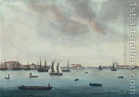 View of the Neva River Near the Stock Exchange by Johann Wilhelm Gottfried Barth - Reproduction Oil Painting