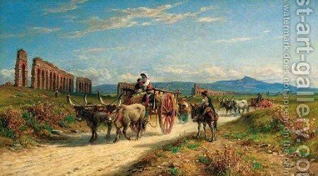 In the Roman campagna by Johann Zahnd - Reproduction Oil Painting