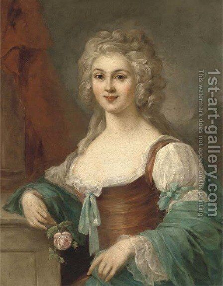 Portrait of the comtesse de Bernicourt, half-length, a rose in her right hand by Johann Ernst Heinsius - Reproduction Oil Painting