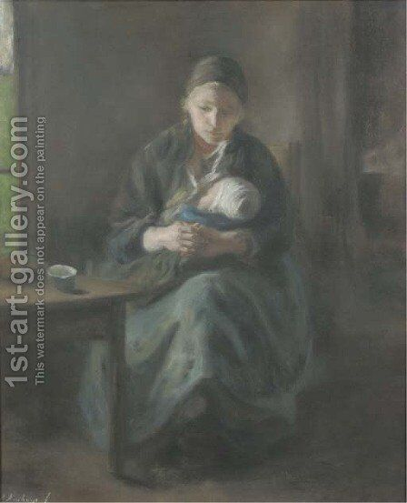 Mother and child by Albert Neuhuys - Reproduction Oil Painting