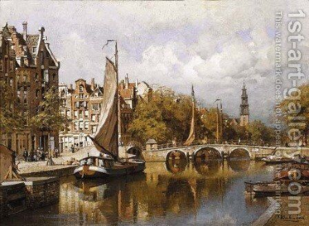 A view of the Prinsengracht, Amsterdam, with the Westertoren in the distance by Johannes Christiaan Karel Klinkenberg - Reproduction Oil Painting