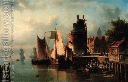 Unloading ships at a Dutch port by Abraham Hulk Jun. - Reproduction Oil Painting