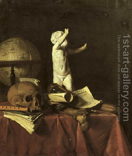 A 'vanitas' with a sculpture of a putto, a globe, a skull, a bone, an hourglass, a flute and books on a draped table by Jan Fris - Reproduction Oil Painting
