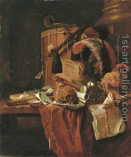 A vanitas still life by Jan Fris - Reproduction Oil Painting