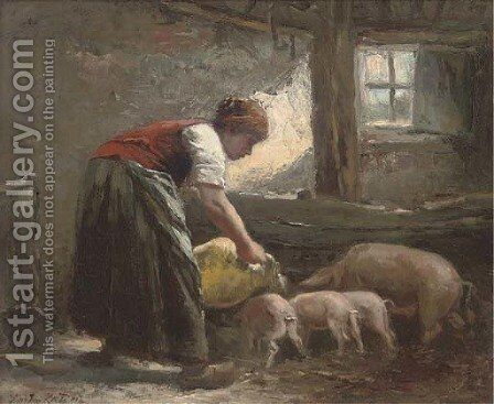 Feeding time by Johan Mari Ten Kate - Reproduction Oil Painting