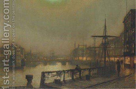 Fish landing, Whitby by John Atkinson Grimshaw - Reproduction Oil Painting