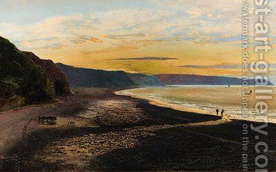 Whitby Sands, sunset by John Atkinson Grimshaw - Reproduction Oil Painting