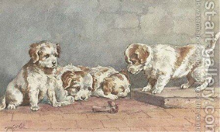 Puppies on a step by John Emms - Reproduction Oil Painting