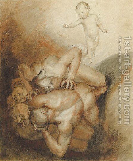 'Evil spirits cast out' An illustration to Emmanuel Swedenborg's Arcania Coelestia, no. 1272. by John Flaxman - Reproduction Oil Painting