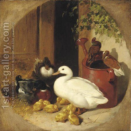 A quiet corner of the farmyard by John Frederick Herring Snr - Reproduction Oil Painting