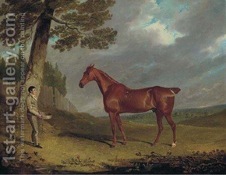 A chestnut hunter and a groom in a landscape by John Frederick Herring Snr - Reproduction Oil Painting