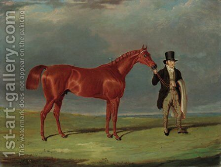 Bedlamite, a chestnut racehorse held by his trainer, in an extensive landscape by John Frederick Herring Snr - Reproduction Oil Painting