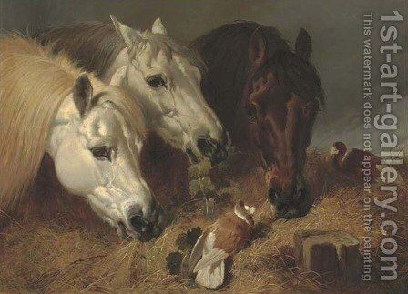 Horses feeding with two ornamental pigeons at a manger by John Frederick Herring Snr - Reproduction Oil Painting