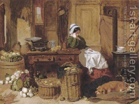 Jennie asleep at a kitchen table, surrounded by fruit and vegetables, with two dogs and a cat in front of the stove at her feet by John Frederick Herring Snr - Reproduction Oil Painting