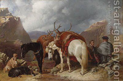 The return from deer stalking by John Frederick Herring Snr - Reproduction Oil Painting