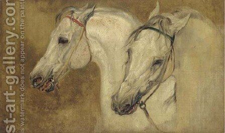 Two arab horses' heads by John Frederick Lewis - Reproduction Oil Painting