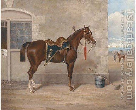 A liver chestnut charger of the Hussars by John Mathews - Reproduction Oil Painting