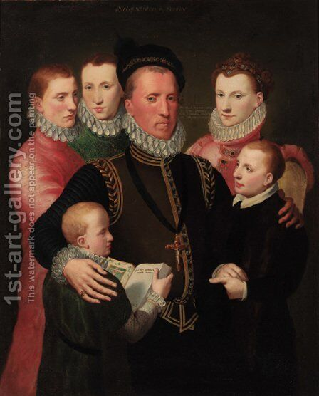 A group portrait of the Winton family, standing three-quarter-length George, 7th Lord Seton in a gold-trimmed black doublet by Sir John Baptist de Medina - Reproduction Oil Painting
