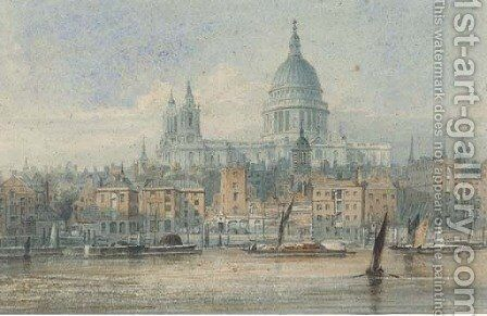 Barges on the Thames before St. Paul's Cathedral by J. P. Neale - Reproduction Oil Painting
