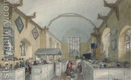 Interior of St Mary's Church, Tattingstone, Suffolk by J. P. Neale - Reproduction Oil Painting