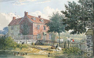The Exterior of a Farmhouse at Holbrook, Ipswich, Suffolk by J. P. Neale - Reproduction Oil Painting
