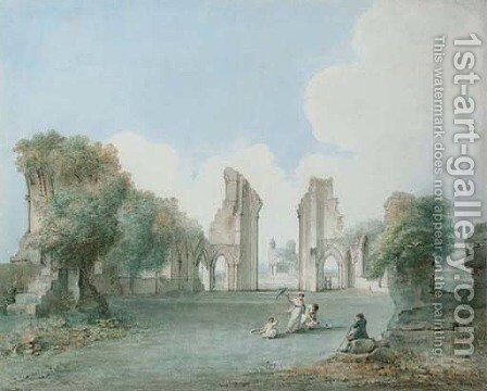 Lady with a parasol and children enjoying an afternoon in the ruins of Glastonbury Abbey by Jan Sanders - Reproduction Oil Painting