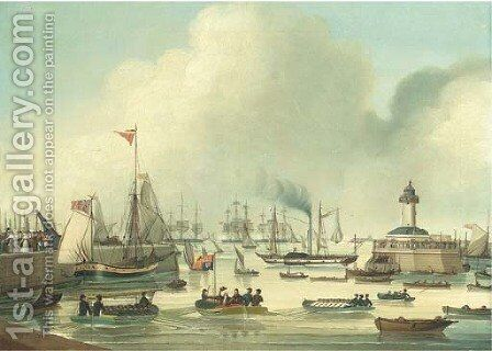 King George IV leaving Ramsgate for his visit to Hanover, 25 September, 1821 by Jan Sanders - Reproduction Oil Painting