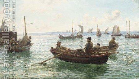 Lobster fishermen leaving harbour by Hamilton Macallum - Reproduction Oil Painting